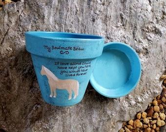 Planter with Horse - Painted Flower Pot - Horse Art - Memorial for Horse - Pet Memorial - Garden Planter