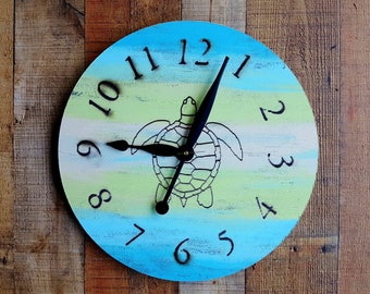 Large Wall Clock - Beach House Decor - Sea Turtle Art - Home Decor - Rustic Decor - Round Wall Clock - Cottage Home