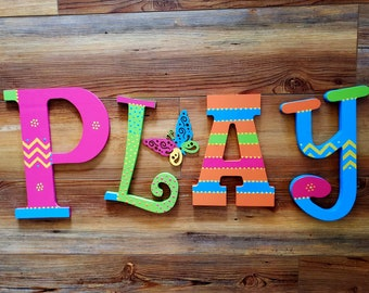 The Word PLAY - Play Room Letters - Kids Room Decor - Play Room Decor - PLAY Sign