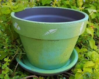 Painted Flower Pot - Cottage Home - Beach Decor - Coastal Decor - Blue and Green - Large Planter - Ocean Theme