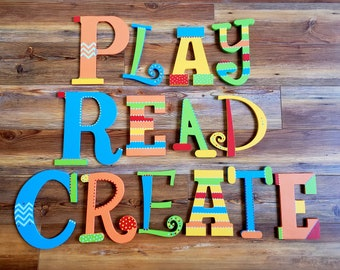 Play Room Art - Play Sign - Create Sign - Read Sign - Kids Wall Art - Playroom Art Display - Playroom Art Wall
