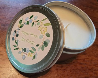 Spa Candle - Scented Candle - Lemongrass Scent - Peppermint - Eucalyptus Scent - Gift Candles - 8 oz Candle - Soy Candle