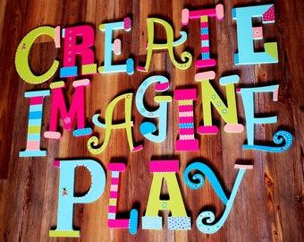 Play Room Art - Imagine Sign - Create Sign - Play Sign - Read Sign - Kids Wall Art - Art for Children