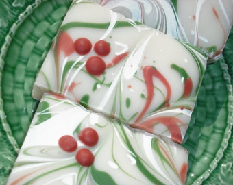 HOLIDAY Soap CHRISTMAS Soap / pre order / 6 bars / Rosemary Mint Soap with Shea Butter / Free Shipping / Handmade Cold Process Soap
