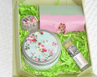 Bath and Beauty Gift Set / soap lotion lip balm solid perfume / Handmade for Her