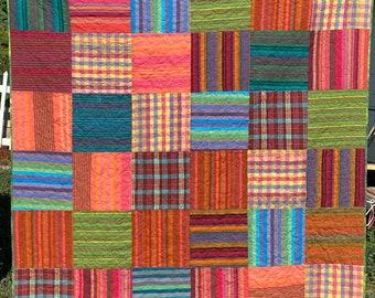 Plaid and Stripes Lap Quilt Cotton Batting Kaffe Fassett