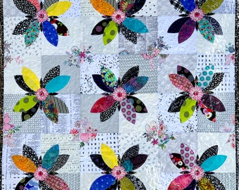 PAPER PATTERN for Crazy Eights Quilt Flower Scrappy fabrics black white Bed Placemat Lap or Wall Quilt Table runner Floral Home Decor
