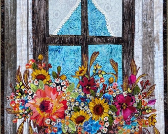 Original Quilt--Autumn's View Floral Collage Wall Hanging Sunflowers Roses Country Farmhouse