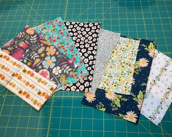 FLORAL FABRIC PACK for The Quilted Garden Pattern Fusible Appliqué Quilt Mums Flowers Roses Daisies