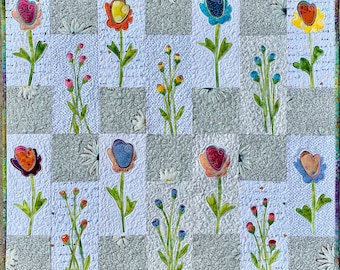 PAPER PATTERN for Quilt Buds n' Roses Rose Garden Floral Collage Wall Hanging Spring Mothers Day Home Decor