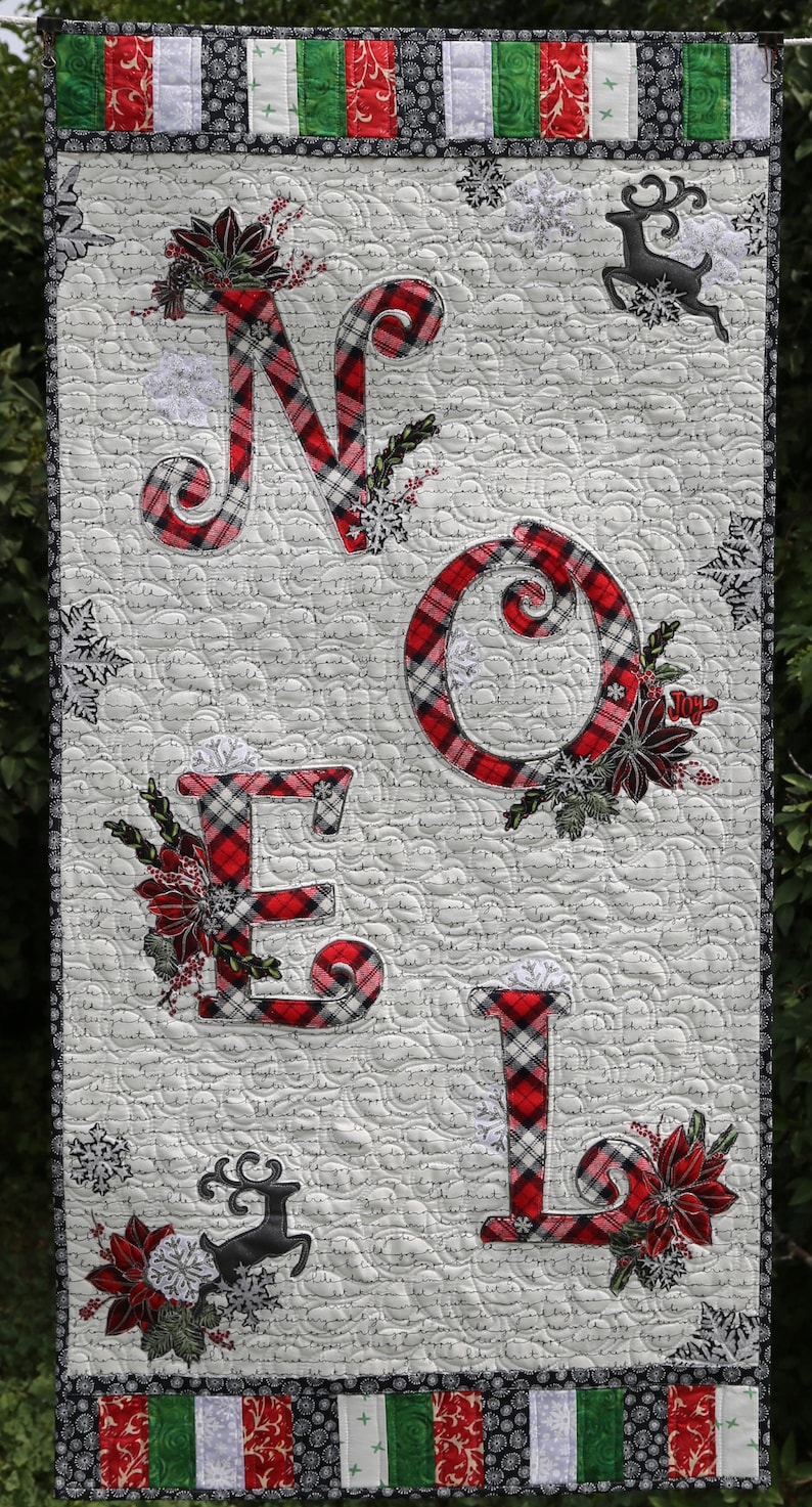 PAPER PATTERN for NOEL Collage Quilt Wall Hanging Christmas image 1