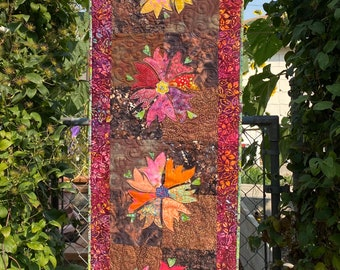 AUTUMN Quilted Floral TableRunner in Orange, Red, Yellow, Rust, Brown
