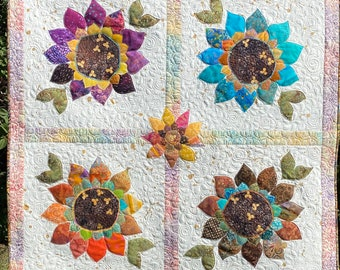 FABRIC KIT w/Paper Pattern for Sunflower Joy Quilt Wall Hanging Country Home Decor
