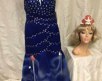 sea nymph mermaid dress womens size 8 one of a kind recycled halloween costume blue shell headband fantasy ocean goddess cosplay ooak