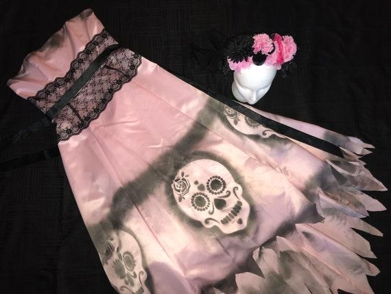 Day of the Dead corpse bride Costume dress womens size 4 unique Halloween costume Dia de los Muertos  sugar skull dead Senorita wedding