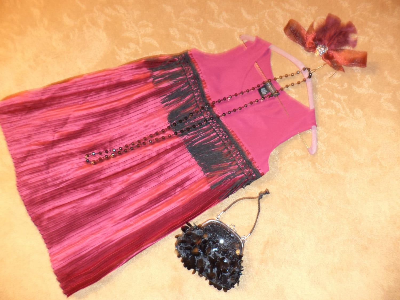1920s Style Purses, Flapper Bags, Handbags 1920S Flapper 20S Dress Burgundy Silk Fringe Halloween Costume Womens Sz 6 Gatsby $53.00 AT vintagedancer.com