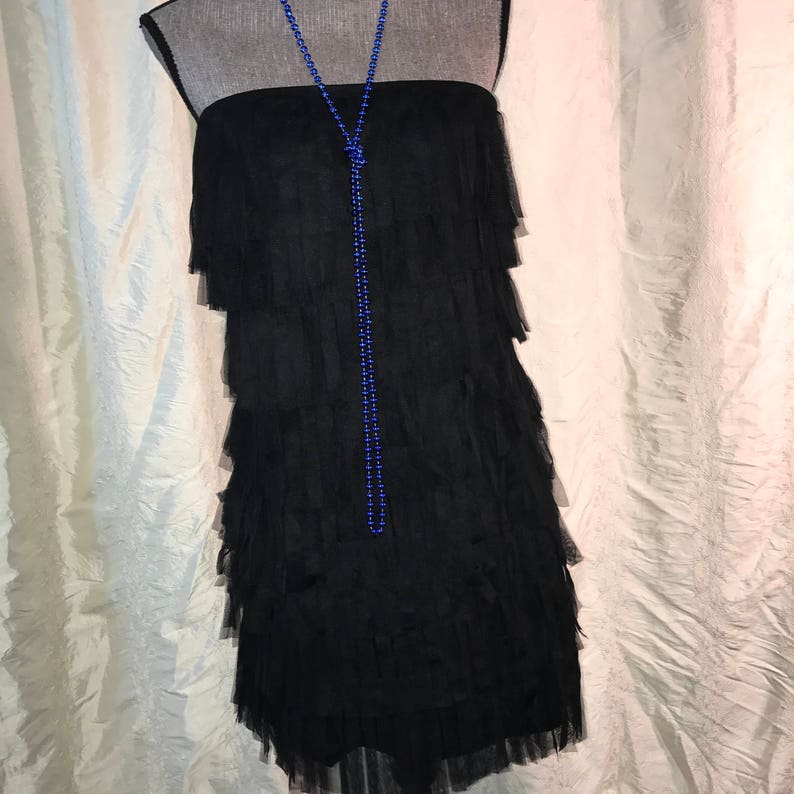 20/'s  flapper black net fringed dress womens size 6 Halloween GATSBY COSTUME Modern Millie