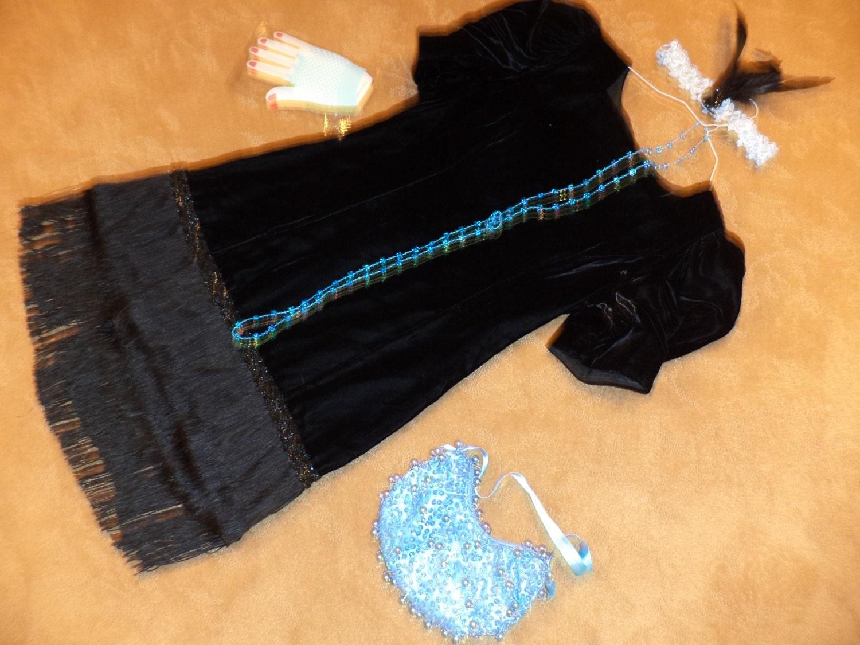 1920s Style Purses, Flapper Bags, Handbags 1920S Flapper 20S Dress Black Velvet Fringe Halloween Costume Womens Size 8 To 9 Gatsby Roaring Unique Ready Ship $59.00 AT vintagedancer.com