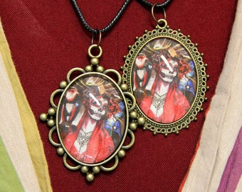 When Dusk Has Come - Watercolor Art Necklace - Pendant - Day of the Dead, Flowers, Monkey