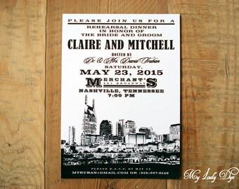 25 City Skyline Rehearsal Dinner Invitations Nashville Wedding Invitation - By My Lady Dye