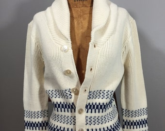 Vintage 70's Tiny Fit Nordic Cardigan Norwegian Sweater Chunky Collar XS