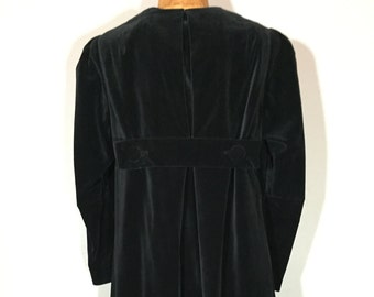 Vintage 60s Black Velvet Tent Dress Pleated Occult Robe Detail S