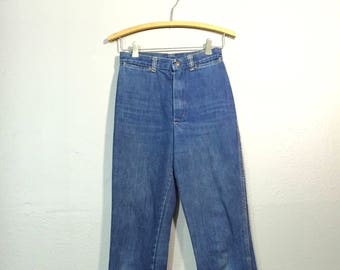 Vintage 70's Stuffed Ultra High Waist Straight Leg Skinny Jeans Long Length 35 Inseam XS