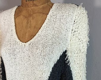 1990s Shaggy Fringe Triangle Saw Wave Sweater Boho Loomed Geometric Neutral Tones S M