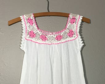 Vintage 70's Crochet Gauze Child Girls Dress Boho Toddler Like New!
