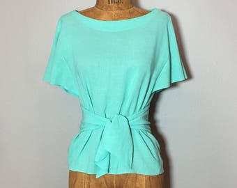 Vintage 80's Sea Foam Flutter Sleeve Banded Waist 40's Inspired Top S