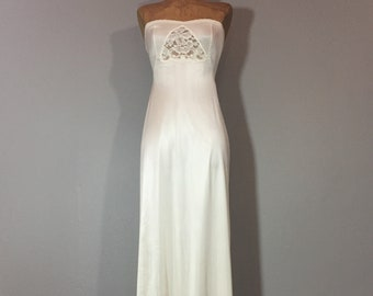 Vintage 70's Bone White Strapless Slip Dress Sheer Lace Peek-A-Boo Triangle Bust  S