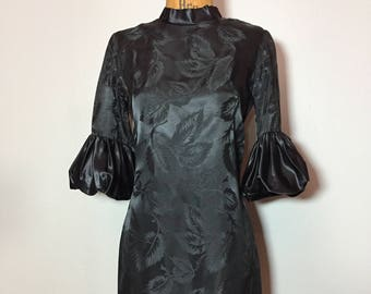 Vintage 60's Avant Garde Embossed Dramatic Puff Balloon Sleeve Black Satin Cocktail Dress S