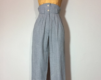 Vintage 80's High Waist Pleated Tapered Flood Trouser Pants Heather Grey XS