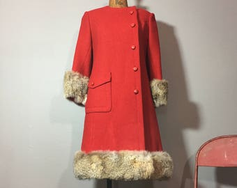 Vintage 60's Red Fur Trimmed A Line Dress Coat S
