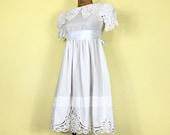 80s White Cotton Crochet Cutout Petite Tiny Fit Midi Dress XXS XS