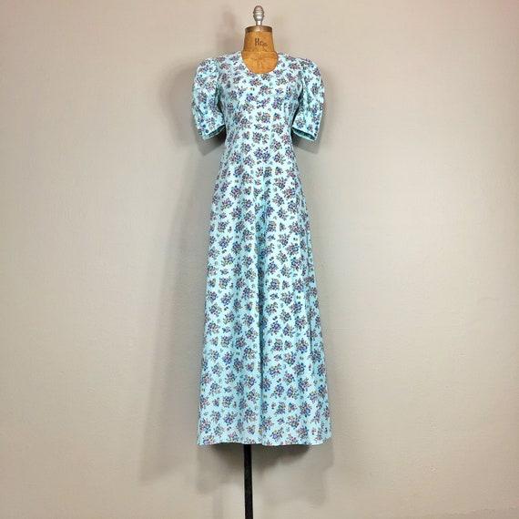 60s Cotton Floral Puff Sleeve Prairie Maxi Dress S