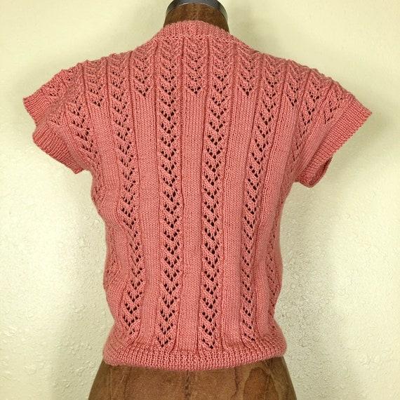 70s Softest Coral Crochet Cardigan Sweater Vest T… - image 5