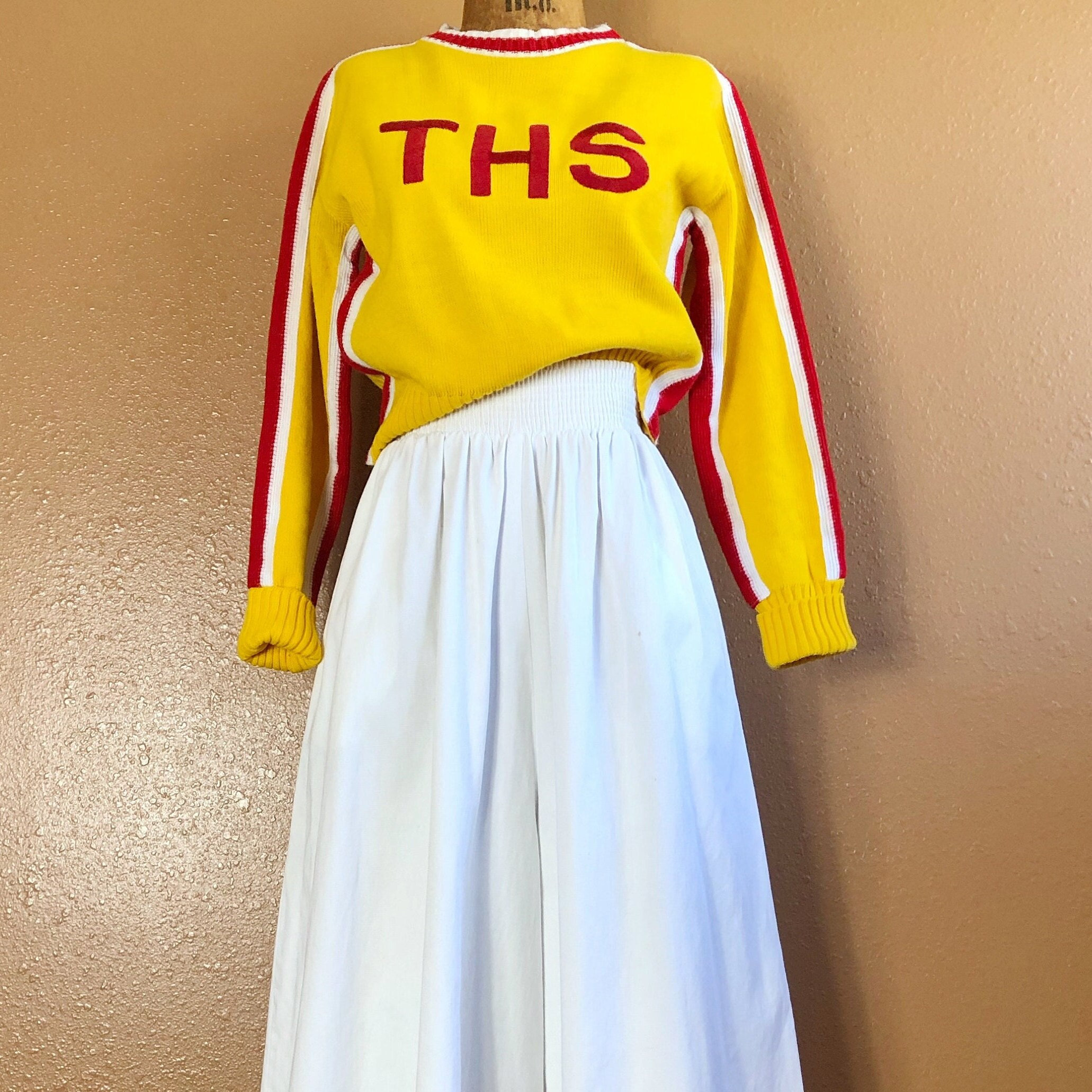 80s Sweatshirts, Sweaters, Vests | Women 80S Tiny Fit Shrunken Embroidered Cheerleading Sweater Xs $38.00 AT vintagedancer.com