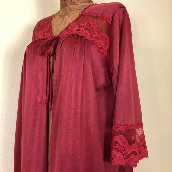 70s Rust Colored Nylon + Lace + Mesh Bell Sleeve … - image 4