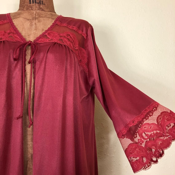 70s Rust Colored Nylon + Lace + Mesh Bell Sleeve … - image 2
