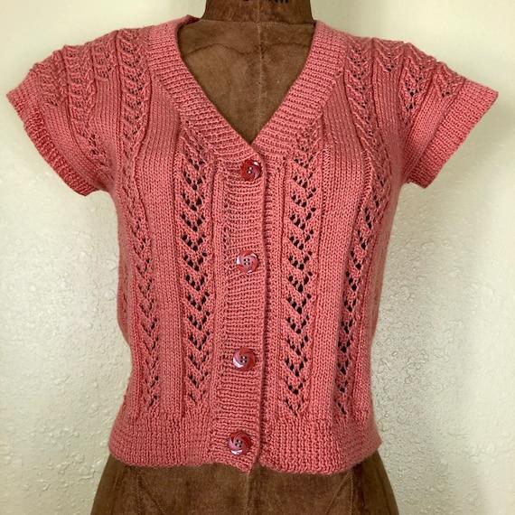 70s Softest Coral Crochet Cardigan Sweater Vest T… - image 3