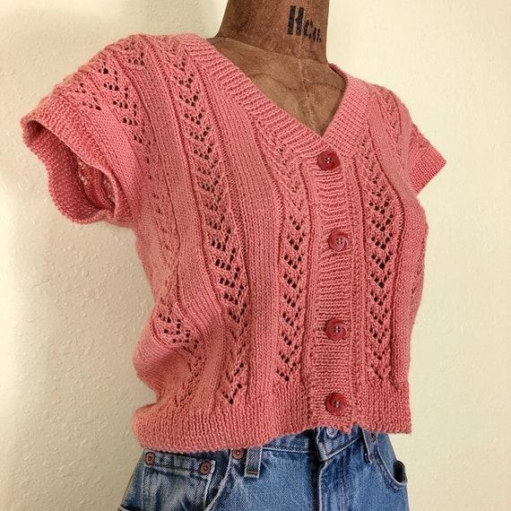 70s Softest Coral Crochet Cardigan Sweater Vest T… - image 1