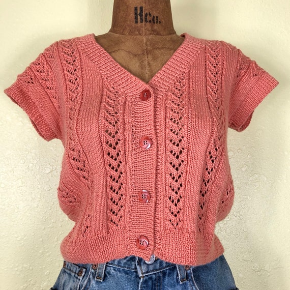 70s Softest Coral Crochet Cardigan Sweater Vest T… - image 2