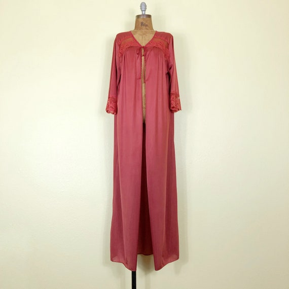 70s Rust Colored Nylon + Lace + Mesh Bell Sleeve … - image 1