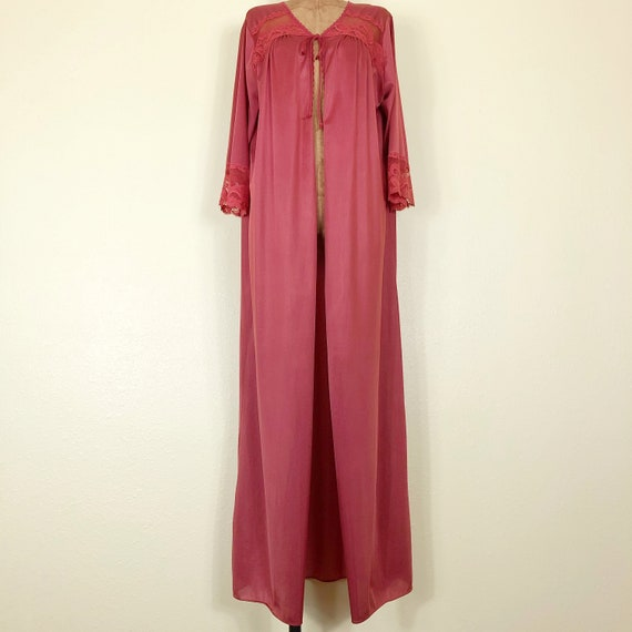 70s Rust Colored Nylon + Lace + Mesh Bell Sleeve … - image 3