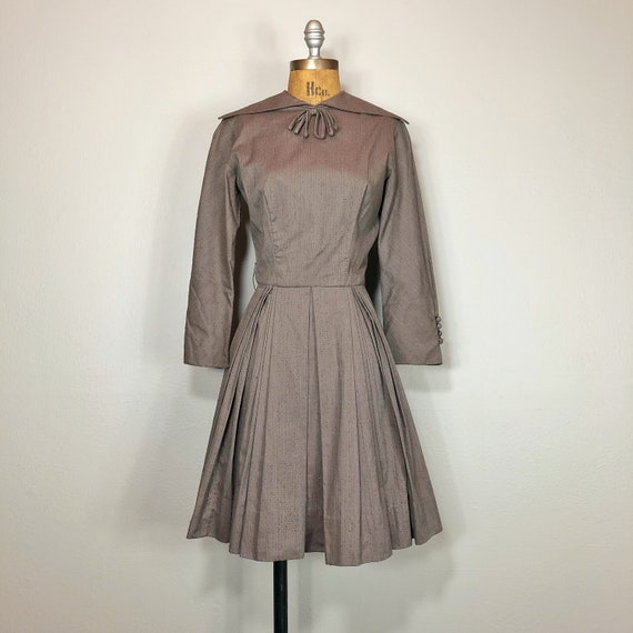 50s Pleated Full Circle Skirt Dress by Pat Premo C