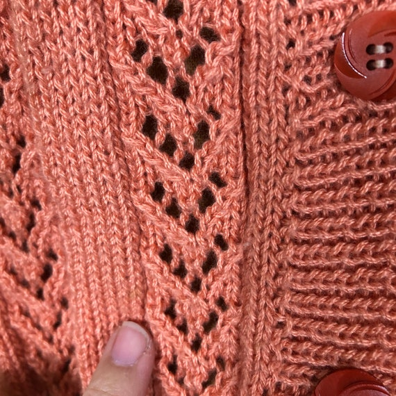 70s Softest Coral Crochet Cardigan Sweater Vest T… - image 6