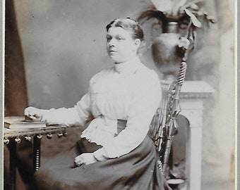 Real Photo Bookworm Young Lady Book Social History Reading Book Sitting at Table RPPC