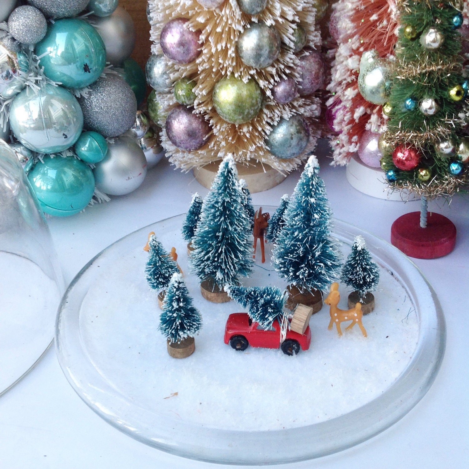 Christmas tree shopping deer vintage red car kitschy Christmas | Etsy