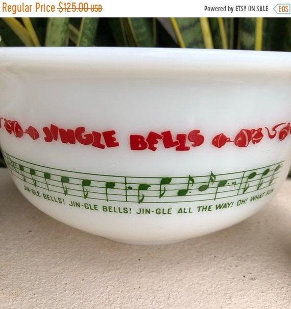 75b02d4c SALE Vtg Hazel Atlas Jingle Bells Punch Bowl Set With 4   Etsy
